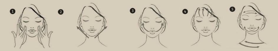 donna, movimenti, ampolla, utilizzo, step, passaggi, bellezza, massaggio, viso, volto, pelle, rughe