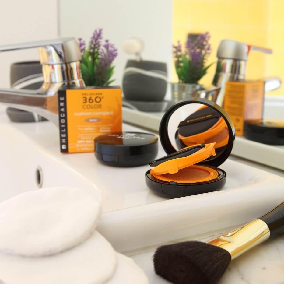makeup, heliocare, cushion, fotoprotezione, trucco, viso, volto, donna, make-up, fondotinta, estate, caldo